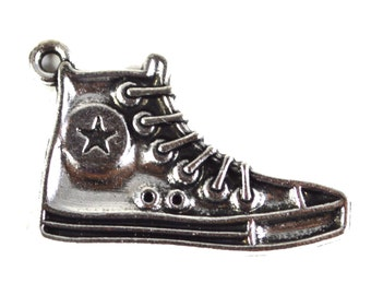 5 PC Converse Sneaker Shoes Antique Silver Metal Charms Alloy Jewelry Making Supplies