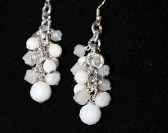 Cluster earrings with gemstone, pearls and white crystals