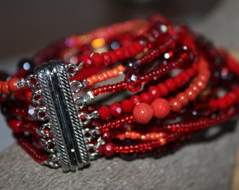 Bracelet, double turn, red, beads, crystals, gemstone jewelry.