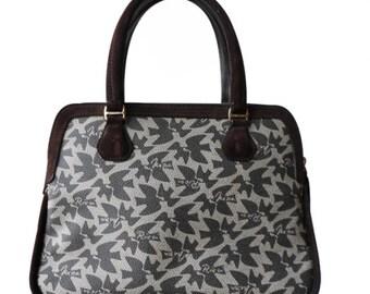 Nina Ricci : beige printed canvas handbag, vintage 70s