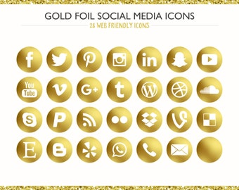 100+ Gold Foil Social Media Icons! PNG files- Digital Download- Blog/Wordpress/Web/Email Friendly