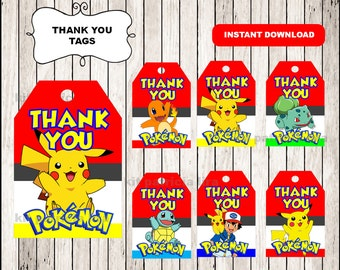 Pokemon Thank you Tags instant download , Pokemon Thank you Tags, Printable Pokemon party tags