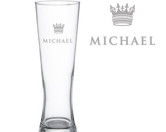 Pint Glass with Engraving - Personalised with Name - Beer Glass with Crown Motif - Christmas Gift