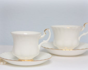Set of Two Vintage Royal Albert Bone China 'Val D'Or' Cup and Saucers, Lady and Gentleman Size