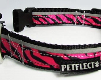 Pink Zebra Reflective Dog Collar
