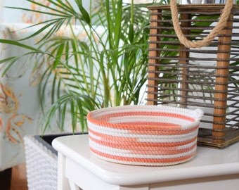 Rope basket, cord, bowl, cotton, orange, tangerine, white, hand dyed, gift idea