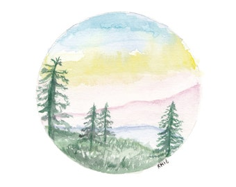 Mountain landscape -Print A4, Pine trees, Watercolour Art, Circle Mountain Art