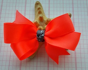 Neon Orange Hair Bow,  Bright  Girls hair bows , Party Favors, stocking stuffers