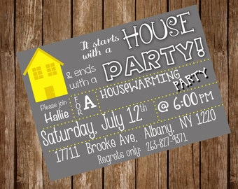 House Warming Party Invite, House Warming Party Invitation, House Party invitation, House Warming Invitation