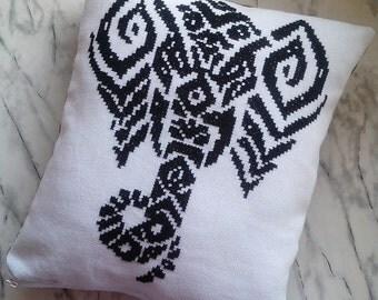 Tribal Elephant Decotative Pillow, Throw Pillow, Black and White Pillow Cover