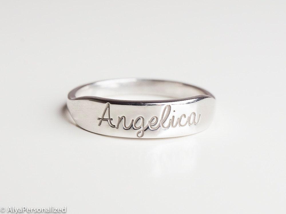 sterling silver ring custom name ring signet ring silver. Black Bedroom Furniture Sets. Home Design Ideas