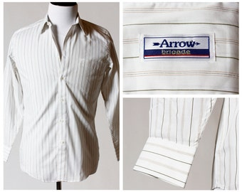 Vintage Men's Shirt - Arrow Brigade 80s 90s Retro Small Long Sleeve Button Up Dress Shirt