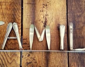 Vintage Silverware Word Art - 'Family'