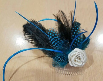 Feather and satin flower fascinator, turquoise, black and ivory