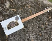 White all wood acoustic cigar box slide guitar