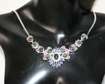 Graceful necklace set with opals + Tanzanites + Ruby + Topaz Sterling Silver 925
