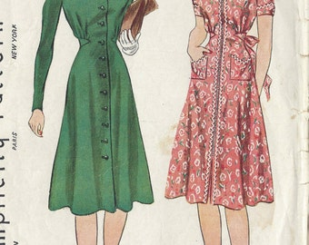"1940 Vintage Sewing Pattern B34"" DRESS (R321) Simplicity 3407"