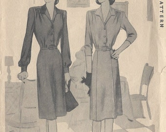 "1941 Vintage Sewing Pattern DRESS B34"" (40) McCall 6219"