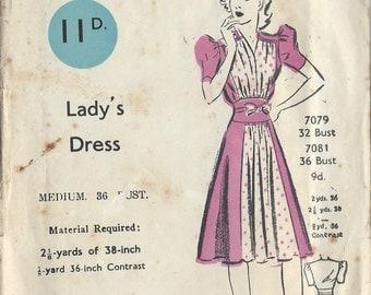"1940s Vintage Sewing Pattern DRESS B36"" (148) Blackmore 7081"