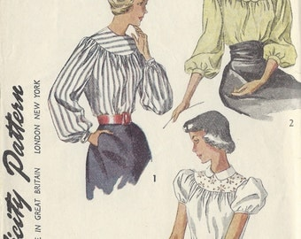 """1949 Vintage Sewing Pattern BLOUSE B34"""" (1286) McCall 2784"""