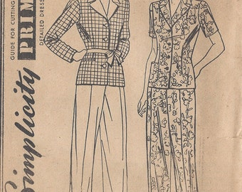 "1940s Vintage Sewing Pattern B30""-W26"" TROUSERS-JACKET/SHIRT (115)"