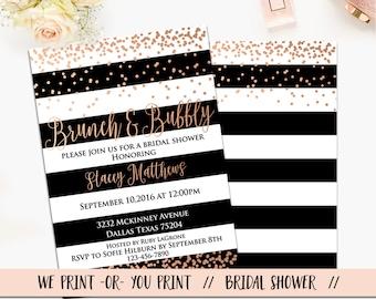 Brunch and Bubbly Bridal Shower Invitation, Brunch and Bubbly Invitation, Bridal Brunch Invitation, Bridal Shower Brunch, Rose Gold