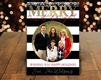 Family Photo Christmas Card, Christmas Family Card, Christmas Photo Card, Holiday Card, Xmas Card, Merry and Bright Card