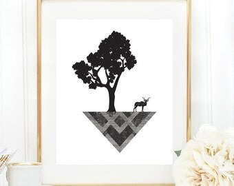 Geometric Wall Art, Black and White Print, Deer Antler Art, Digital Download, Abstract Tree, Minimalist, Geometric Art, Abstract Print