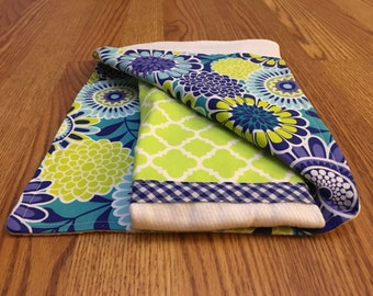 Lime and blues - Burp Cloths - set of 2