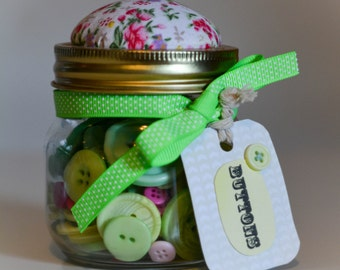 Jar of Buttons with Pincusion Lid