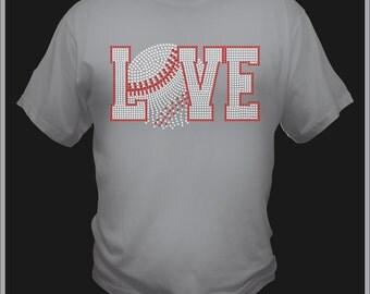 Love Baseball Rhinestone Tee