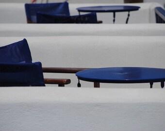 Blue Abstract Wall Art - Greek Travel Photograph Mediterranean Blue White Beach Chairs Nautical Kitchen Wall Decor Print