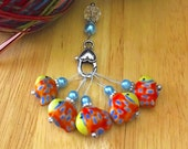 Ceramic Fish Stitch Markers | set of 6 | Snag Free | Progress keeper | knitters gift | Yarn |