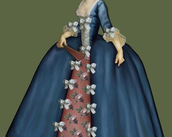 Baroque female costume, tutorials + 4 patterns, In Italian