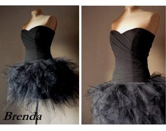 Brenda, Black prom dress, Tulle Halloween dress, Knee-length formal dress,Sweetheart party dress,evening dress
