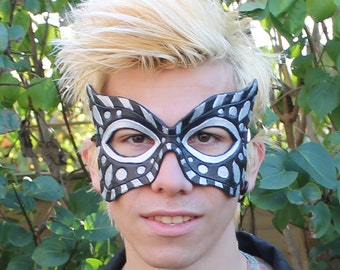 Black and silver leather mask for cosplay or masquerade or party
