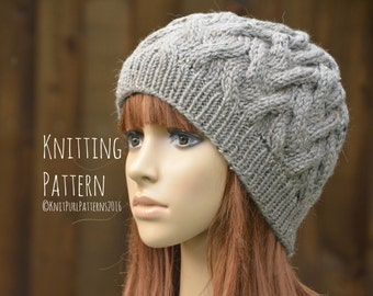 Knitting Pattern PDF Instant Digital Download Womens Beanie Hat Cable Hat Knit It Yourself KPWB03