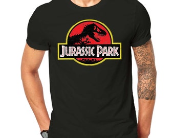 Inspired By Jurrasic Park Vintage Distressed Print T Shirt Black ScreenPrinted Design All Sizes