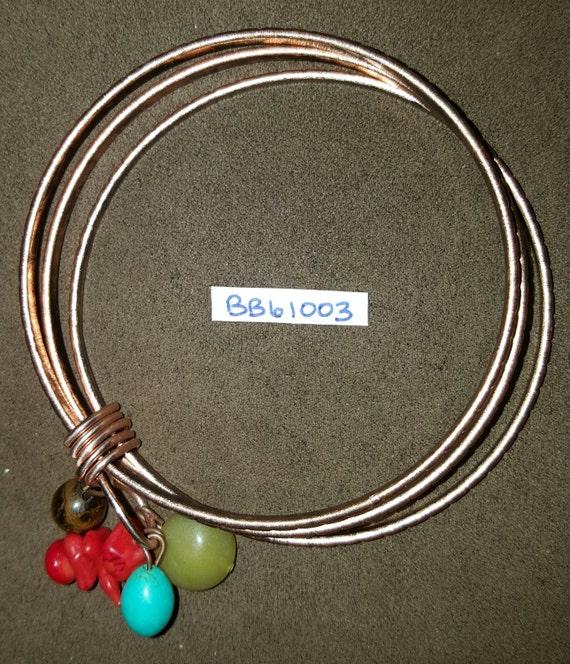 Copper Plated Bangle Bracelet / Turquoise Coral Jade Tiger Eye / Natural Stone Bracelet / Boho Jewelry / Hippie Bracelet / BB61003