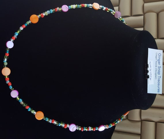 Petite Beaded Necklace / Hot Pink and Orange Mother of Pearl Necklace / Boho Jewelry / Hippie Necklace / Mother of Pearl Necklace /NM61006