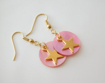 earrings goldenstar with mother of pearl light pink