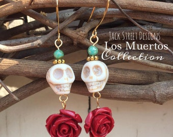 Los Muertos Collection Rose and Skull Earrings