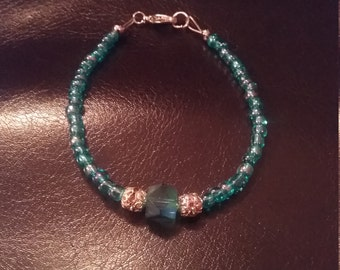 Blue green beaded bracelet now on sale.  Was 12.75 now 11.75
