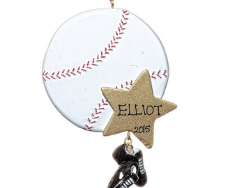 Personalized Ornament-Baseball Star-Free Gift Bag Included