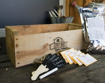 "Rustic Antique Herb Garden Kit - Housewarming & Wedding Gift in 20"" x 6"" x 6"" Handmade Pine Box"
