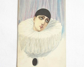 Art Deco Italy Post Card Pierrot. Antique Art Postcard PIERROT. Pierrot Before Multicolor Curtain Postcards. Pierrot Clown, Art Deco, Rococo