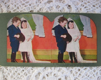 """Ingersoll Stereoscope, Stereoview Card, Antique Paper,No. 8 , """"Please, Will You Marry Us"""", Children Playing ,Circa 1890s,Story Card"""