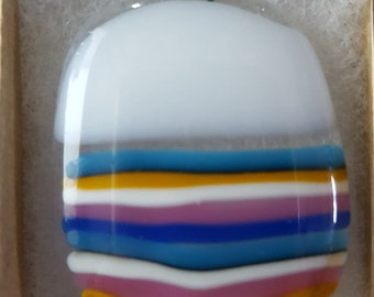 Fun Striped Fused Glass Necklace
