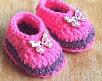 Baby Girl Shoes . Baby butterfy booties .  Baby loafer crochet shoes. Baby girl ballerinas . Baby shower gift . New baby gift