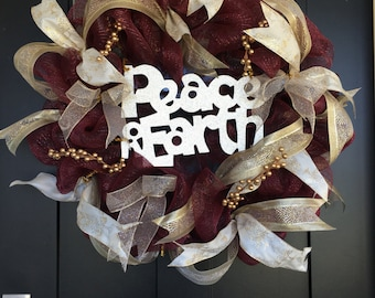Peace on Earth Deco Mesh Wreath Burgundy and Gold Christmas Holiday Winter Wreath